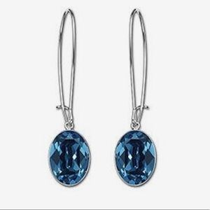NIB Swarovski Puzzle Earrings- Montana Blue